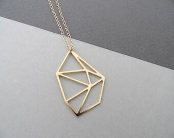 geometric necklace, diamond necklace, geometric jewelry, faceted jewelry, diamond jewelry