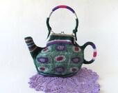 Felt Purse Felted tea  teapot  purse Small bag  Green Polka Dot   purse Women bag by Galafilc