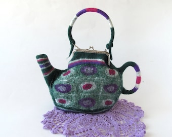 Felt Purse Felted tea  teapot  purse Small bag  Green Polka Dot   purse Women bag by Galafilc