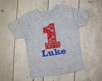 Personalized Grey Cowboy Style Custom Birthday Shirt--Any Number Available