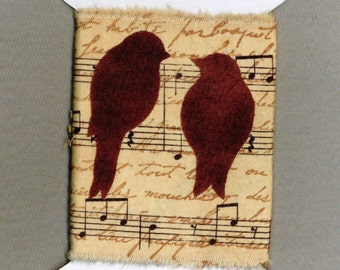 """music birds hand made torn muslin ribbon stamped vintage french script 4"""" gift wrap scrapbook home decor candle wrap 1245"""
