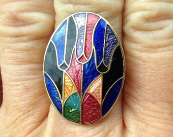 ENAMEL RING,  Colorful, Upcycled Jewelry, Stain Glass Design, Large Ring, Adjustable Band, Repurposed, Under 10 Dollars