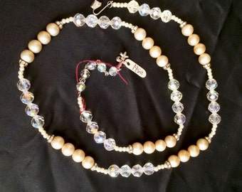 Vintage 1950s Signed Vendome Pearl and AB Crystal Necklace