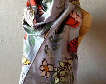 Grey Cotton Scarf Hand Printed and Appliqued with Florals