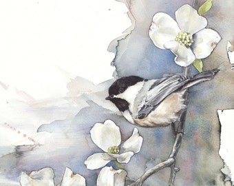 Bird art PRINT Chickadee and Dogwood original watercolor painting limited edition giclee print