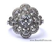 DUCHESS - Custom Made - Diamond Engagement or RIGHT Hand Ring 14K white gold - Weddings- Brides - Bp0011
