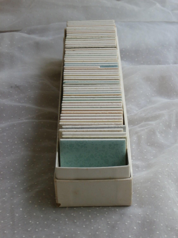 sample box of 55 vintage 2 inch ceramic tiles dal tile