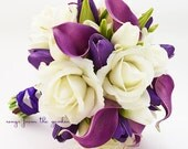 Real Touch Purple Callas Purple Tulips White Roses Bridal Bouquet - Real Touch Silk Flower Bridal Bouquet - Customize for your Colors