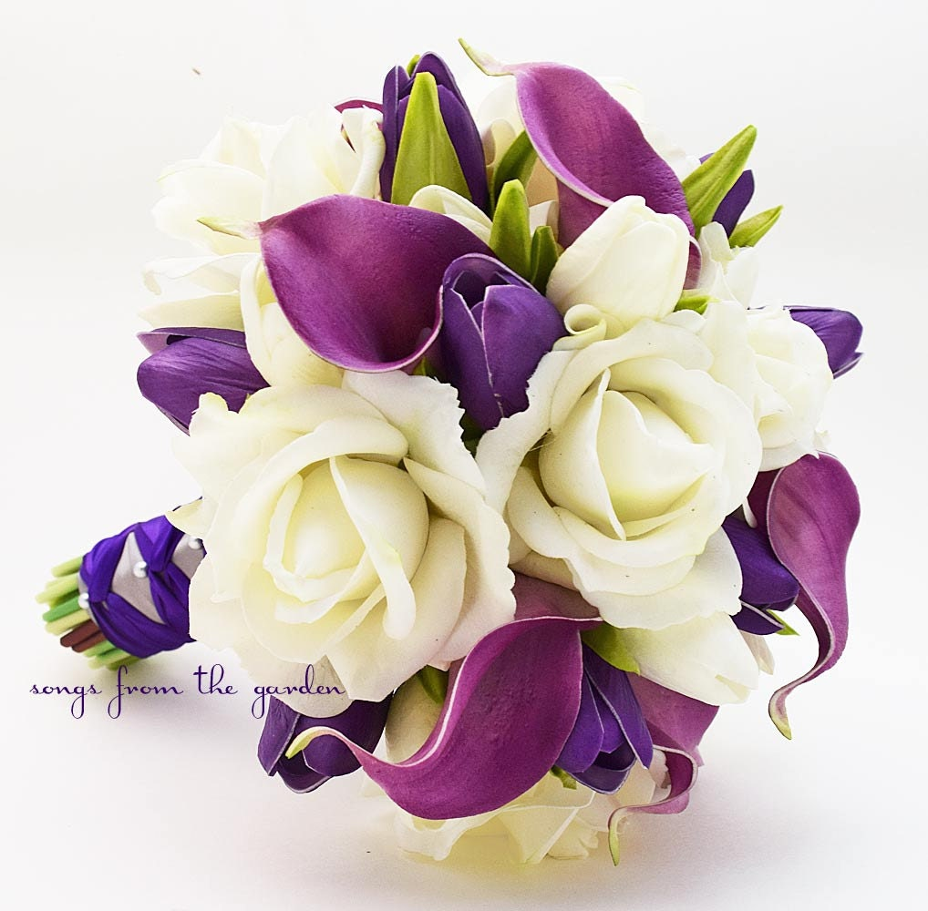 Real touch purple callas purple tulips white roses bridal for Wedding bouquet tulips and roses