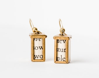 Brass Box Frame Locket Earrings, with Flip Top.  Comes with poetry inside but can be customized with anyting