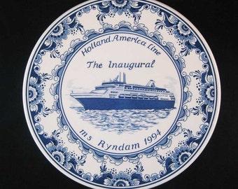 Holland America Line The Inaugural ms Ryndam 1994 Blauw Delfts Plate