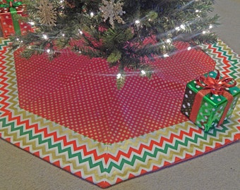 Large Polka Dot and Chevron  Octagon Christmas Tree Skirt IN STOCK