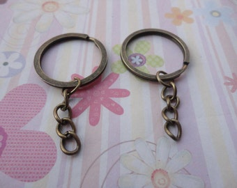 20pcs bronze color 1 inch Split Ring with Key Chain--1 inch key ring