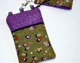 Made to Order Black Japanese Dolls Olive Green & Orchid Violet  Purple Floral Phone Case Wristlet or Aqua Pink Blossoms  iPhone 5 6 Plus