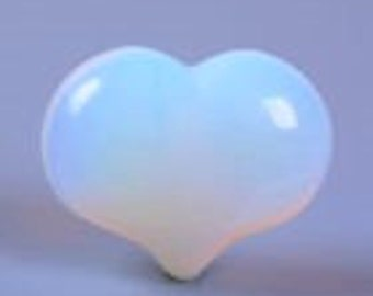 Opalite Glass Heart Polished Gemstone Heart For Purse Pocket or Tabletop