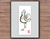 Rooster, Chinese Zodiac Year of the Rooster, Original Zen Sumi ink Brush Painting, zen decor, child's room art, japan illustration, chicken
