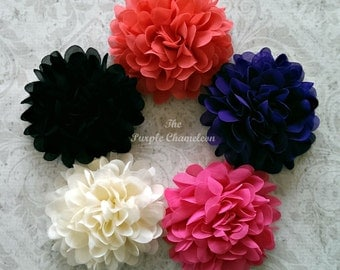 XL Chiffon Flower Clip in Your Choice of Colors Coral Black Purple Pink Cream Red Flower Wedding Bridesmaid Photography Prop 4 Inch Flower