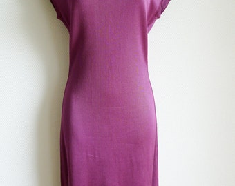 SALE Vintage ALAIA dress and cardigan set in purple acetate knit