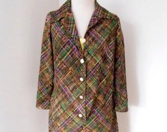 70s brown Vintage button front shirt dress.