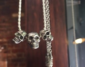 Three Human Skulls Necklace Forever In Sterling Silver Made in NYC
