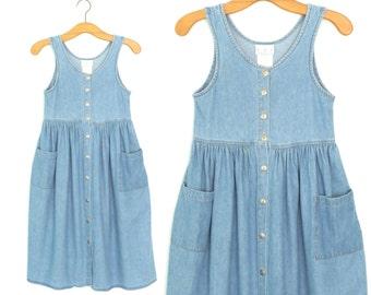 90s Jumper Dress * Vintage Denim Babydoll Dress * Blue Jean Dress * Small - Medium