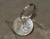 Baby Handprint Keychains - Hand Print Keychain - Handprint Key Chains - Personalized Keychain - Handprint Keyring - Father's Day Gift