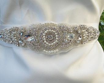 Bridal Belt, Pearl and Rhinestone Bridal Belt, Bridal Sash, Wedding Belt, Rhinestone Belt, Crystal Belt, Pearl Belt