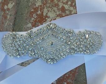 Rhinestone Bridal Sash, JESSA, Bridal Sash, Rhinestone Sash, Crystal Belt