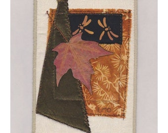 Autumn Leaves in the Wind - Mini Crazy Quilt Style Collage Ready to Frame