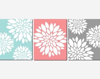Coral Aqua Gray Wall Art, Home Decor, Flower Burst, Floral, Bathroom, Living Room, Bedroom, Spa, Kitchen, Peony, Set of 3 Prints or Canvas