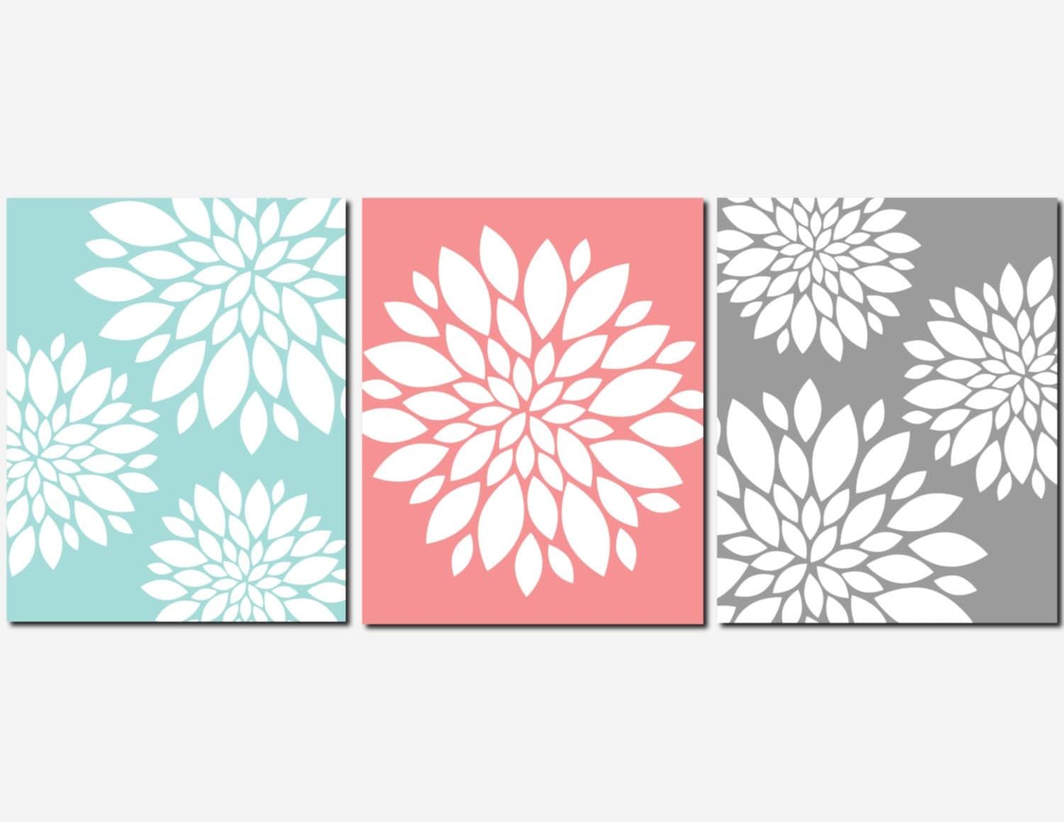 Coral aqua gray wall art home decor flower burst floral for Floral wall art