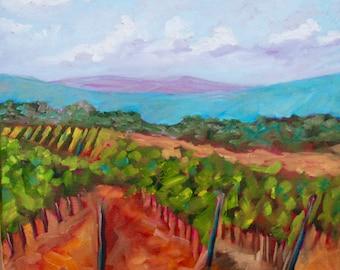 18 x 18 Original Impressionist Oil Painting Italian Tuscan Vineyard by Rebecca Croft