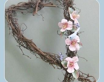 Grapevine Wreath Pink Flower Wreath Pink Floral Wreath Floral Heart Wreath Wall Heart Bird and Flower Heart Twig Wreath Clay Flower Decor