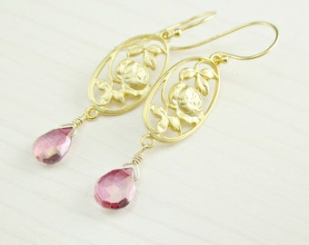 Mystic Pink Quartz Gold Earrings, Gold Vermeil, Gold Flower Earrings, Lavender Lilac Gemstone Dangle, Pink Dangle Rose Floral Pink Earrings