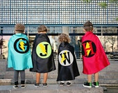 Red and Black Boy Personalized Superhero Cape with bolt - Superhero Costume CUSTOMIZE with YOUR CHOICE colors and letter