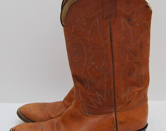 mens vintage brown leather western cowboy boots / Herraderg