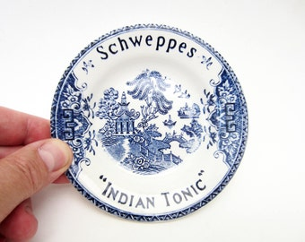 French vintage SCHWEPPES Indian Tonic bowl⎮adv ashtray⎮blue Chinese decor⎮Luneville ceramic France⎮cocktail coin dish tray⎮collectible