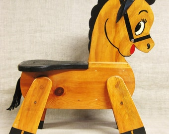 Stool , Child Size , Child's Stool , Kids Stool , Horse , Folk Art, Equestrian , Handmade , Primitive , Rustic , Wooden Horse , Animal ,Seat