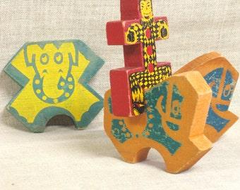 Blocks , Wooden Blocks , Animal Blocks , Man Block , Circus Blocks , Animals , Horse , Elephant , Wooden Toys , Toys , Antique , Toy Blocks
