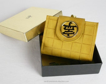 Vintage 1970s NOS Leather Wallet, Rolf's, in Gold Suede Cowhide Leather with Asian Character Medallion, Original Box - Gift-worthy!
