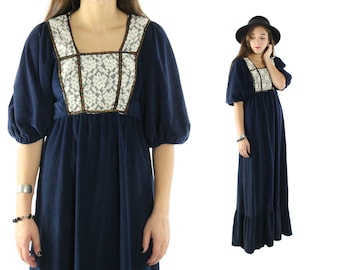 Vintage 70s Peasant Dress Maxi Dress Renaissance Empire Waist Lace Bib Dress Puff Sleeves Navy Blue Hippie Boho 1970s Small S Medium