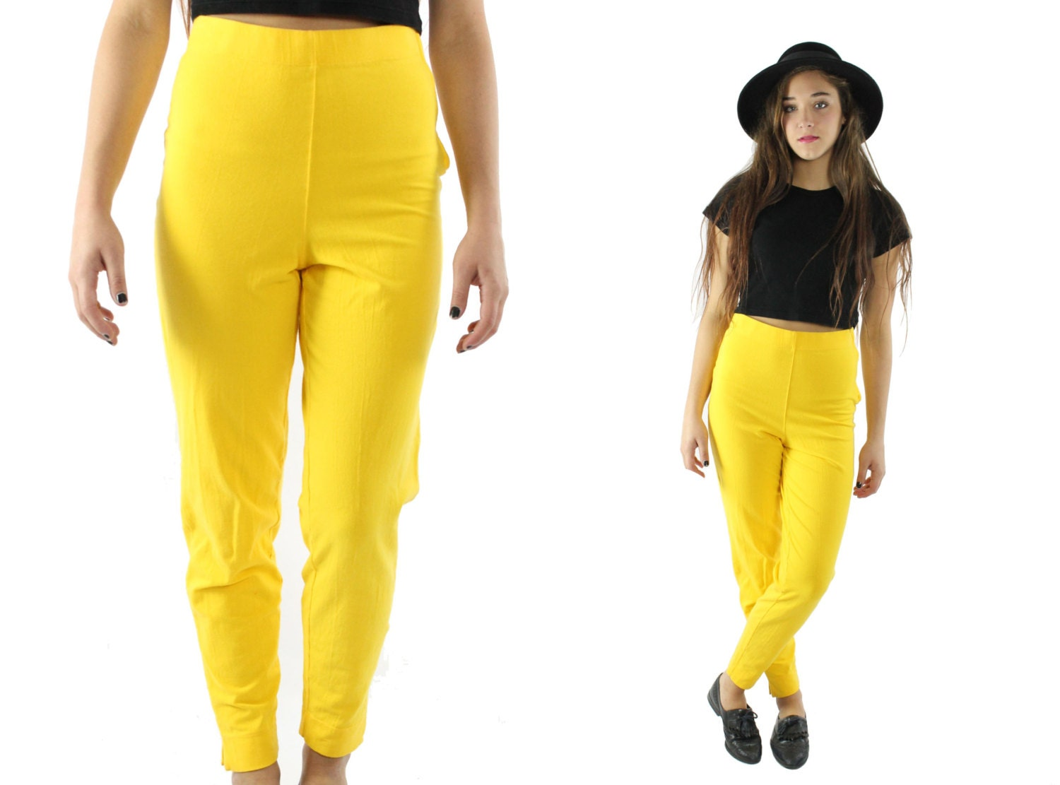 Vintage 90s High Waisted Pants Yellow Knit Leggings Cropped