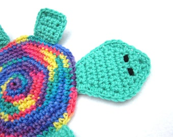 Turtle Pot Holder, Colorful Turtle Hot Pad, Trivet, Multicolored Turtle, Crochet Turtle by Charlene, Wall Decor, Mug Rug