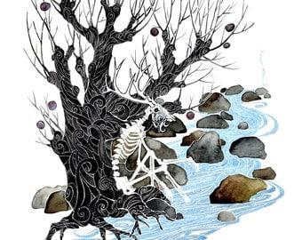 Wendigo. giclee PRINT of original watercolor . by Pete Sandker