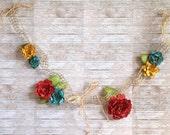 Paper Flower Garland, shabby chic garland, red, turquoise, mustard, twine, burlap, raffia, romantic, cottage chic, vibrant flowers