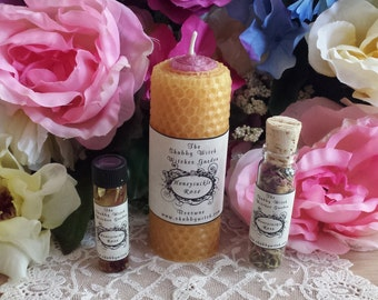 Honeysuckle & Rose Candle Set, Flowers, Beeswax Candle, Ritual Candle