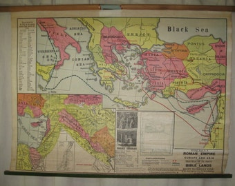 Vintage Eilers Map #3 Roman Empire Pull Down Sunday School  Bible Study School Wall Map