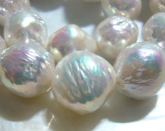 Kasumi Like Ivory Creamy White Rainbow Hue Iridescent Nucleated Bead Fresh Water Baroque Round Pearls - j19-p3 - 30% off sale
