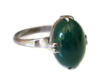Chrysoprase Ring, Sterling Ring, Silver 950, Emerald Green, Victorian Style, Hard Stone, Vintage Jewelry, Size 6.5