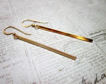Gold Stick Earrings -- Gold Bar Earrings -- Thin Gold Earrings -- Stick Earrings -- Bar Earrings -- 14k Gold Fill Earrings